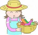 籠を持つ農家の女性